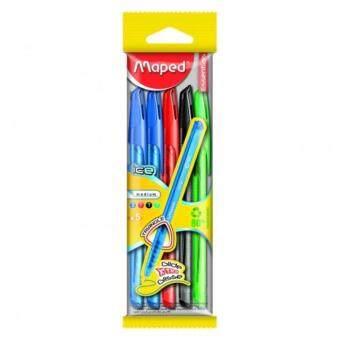 Mapedรุ่นIceปากกาลูกลื่น1แพ็ค มี5ด้าม สีดำ1สีแดง1สีเขียว1สีน้ำเงิน2ด้าม ปากกาเขียนลื่น สีหมึกชัดเจน ทำจากพลาสติกรีไซเคิล80 %ไส้มาตรฐาน ปากกาด้ามสามเหลี่ยม(Multicolor)