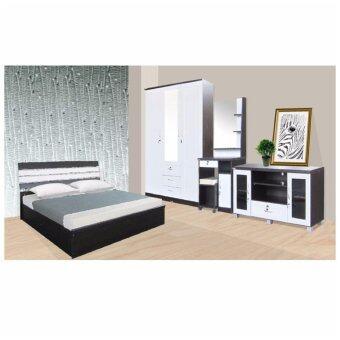 RF Furniture ชุดห้องนอนระแนงหลังเหล็ก รุ่น AMR P Set ขนาด 5 ฟุต เตียง 5 ฟุต + ตู้เสื้อผ้า 3 บาน + โต๊ะแป้ง 70 cm + ตู้วางทีวี ( สีโอ๊ค/ขาว )