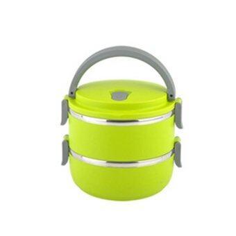 HS Circular Stainless Steel Lunch Box ปิ่นโตสูญญากาศ ทรงกลม สองชั้น (Green)
