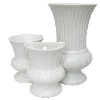 ชุดแจกันโรมัน(เซรามิค) สีขาว แจกันตั้งโต๊ะ แจกันแขวนผนัง(3ชิ้น)