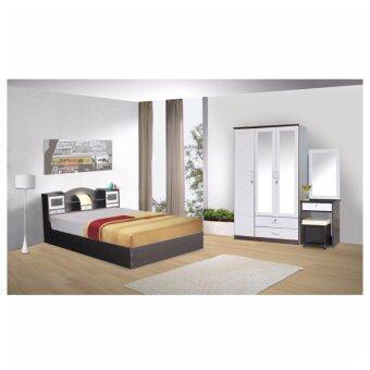 RF Furniture ชุดห้องนอนD3 6 ฟุต เตียง 6 ฟุต + ตู้เสื้อผ้าM 3 บาน + โต๊ะแป้งยืน 60 cm +ที่นอนสปริง ( สีโอ๊ค / ขาว )