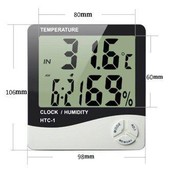 Digital LCD เครื่องวัดอุณภูมิและความชื้น พร้อมฟังก์ชั่นนาฬิกา (สีขาว)