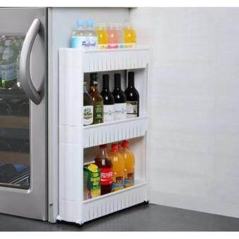 ETC ชั้นวางของในที่แคบ ชั้นวางของข้างตู้เย็น ชั้นวางของอเนกประสงค์ แบบมีล้อเลื่อน 3 ชั้น(White)
