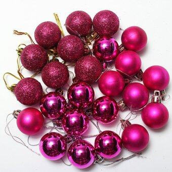 Harga 24Pcs Glitter Christmas Balls Baubles Xmas Tree Hanging Ornament Christmas Decor Cherry Red