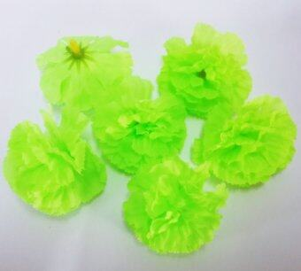Dokpikul-หัวดอกดาวเรืองหรือดอกคาร์เนชั่น ดอกไม้ปลอม ดอกไม้ผ้าประดิษฐ์ ขนาด 5.5ซม.แพค 100ดอก-สีเขียวสะท้อน