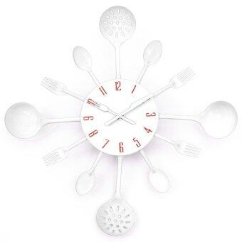 Harga Metal Kitchen Cutlery Utensil Wall Clock Spoon Fork Ladel (White)
