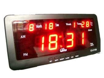 GooAB Shop นาฬิกาปลุก ตั้งโต๊ะ ติดผนัง LED พร้อมวันที่ ขนาด 7 นิ้ว - ไฟสีแดง