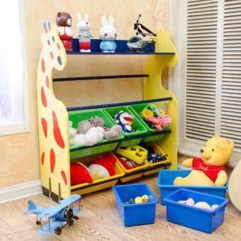 Minlane Kids Toys ชั้นยีราฟ ชั้นวางของเล่น พร้อมกะบะพลาสติก 12 ใบ