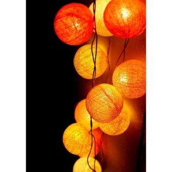 SARA โคมไฟ บอลด้าย ขาว เหลือง ส้ม สวยงาม ตกแต่งบ้าน ห้องนอน ห้องนั่งเล่น ตอนกลางคืน romantic