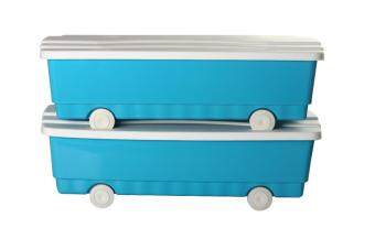 DKW ชุดกล่องล้อเลื่อนทรงเตี้ย ขนาด 35 ลิตร 2 ใบ/ชุด (สีฟ้า)