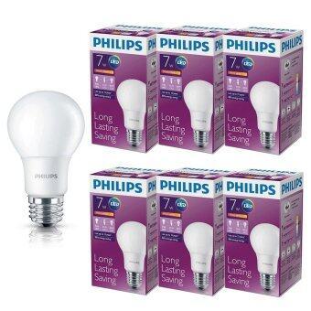 Philips หลอด LED BULB 7 วัตต์ ขั่ว E27 แสงวอร์มไวท์ (6 ดวง)