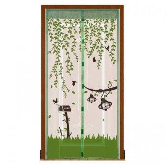 Punpuntoys ม่านประตูแถบแม่เหล็กกันยุง แม่เหล็ก 7 จุด ลายลิงน้อย (สีเขียว)