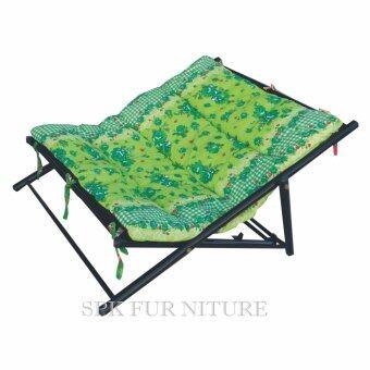 Grace Shopเตียงนอนพักผ่อน โครงเหล็ก นอนคู้ รุ่น นอนนั่งพับได้ ผ้าลาย (สีผ้าลายสีเขียว)