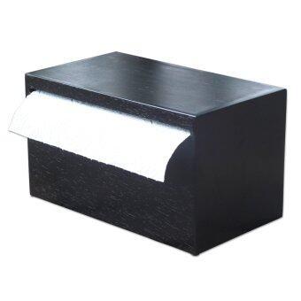 HPTJ กล่องใส่ทิชชู่ม้วนใหญ่ กล่องใส่กระดาษอเนกประสงค์ สีดำ ทำจากไม้
