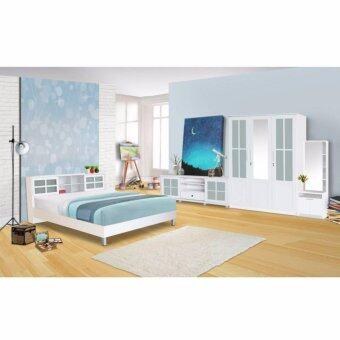 RF Furniture ชุดห้องนอนบานเลือน 5 ฟุต เตียง 5 ฟุต + ตู้เสื้อผ้า 3 บาน + โต๊ะแป้งยืน 60 cm + ตู้วางทีวี ( สี ขาว )
