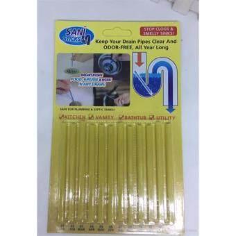 VAUKO : แท่งน้ำยา แท่งทำความสะอาดท่อน้ำ ท่ออุดตัน อ่างล้างหน้า ล้างชาม อ่างห้องครัว ได้อย่างง่าย ไม่มีกลิ่น ไม่มีควัน รุ่น CLK-Sani Sticks-001 จำนวน 1 แผง (12 แท่ง ใช้เดือนละ 1 แท่ง)