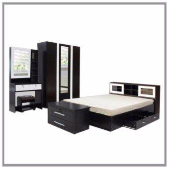 RF Furniture ชุดห้องนอนบานเลือน DD รุ่น Milano Set ขนาด 6 ฟุต เตียง 6 ฟุต + ตู้เสื้อผ้า 3 บาน + โต๊ะแป้ง 80 cm ( สีโอ๊ค / ขาว )