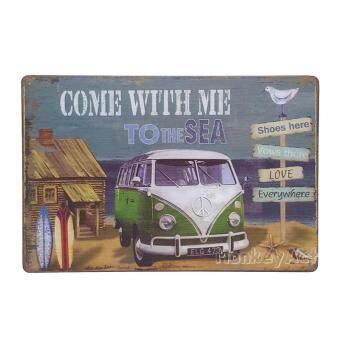 ป้ายสังกะสวินเทจ Come with me to the Sea, Volkswagen Van
