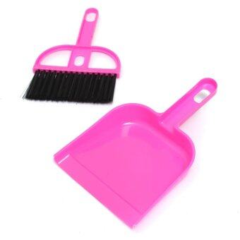 Harga Audew Mini Plastic Dustpan And Brush Set Soft Cleaning Sweeper Hand Kitchen Dust Pan Rose red