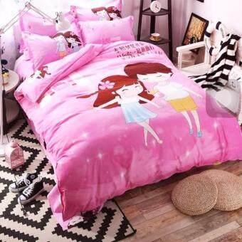 Sweet Kip ชุดผ้าปูที่นอน 6 ฟุต พร้อมผ้านวม 5 ชิ้น ลายคู่รักสีชมพู