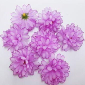 Dokpikul-หัวดอกมัม ดอกไม้ผ้า ประดิษฐ์ ขนาดเส้นผ่าศูนย์กลาง 5ซม.แพค 100ดอก -สีม่วงอ่อน