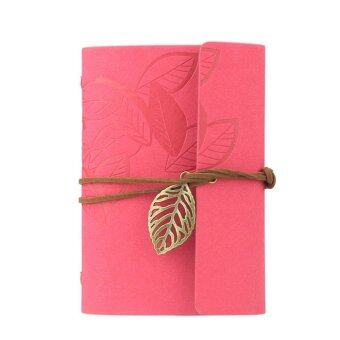 Harga Vintage Leaf Leather Cover Loose Leaf Blank Journal Diary (Pink)