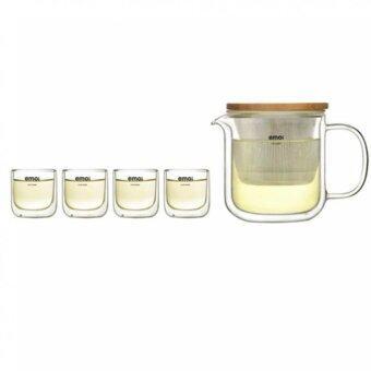 emoi ชุดกาน้ำชาพร้อมแก้ว2ชั้น ไม่ร้อนมือ