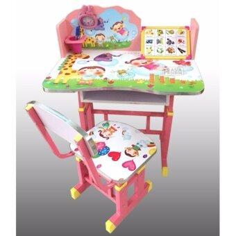 Asia ชุดโต๊ะนักเรียน+เก้าอี้ ปรับระดับได้ ลายการ์ตูน สีชมพู