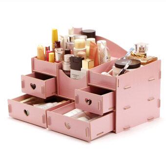 ชั้นวางเครื่องสำอาง DIY Storage Box (สีชมพู)