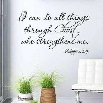 Harga Can Do All Things Through Christ Bible Quote PVC God Wall Stickers - intl