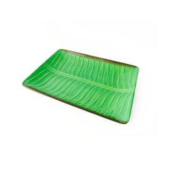 จานสี่เหลี่ยมผืนผ้าลายใบกล้วยใบตอง 12 นิ้ว (สีเขียว)