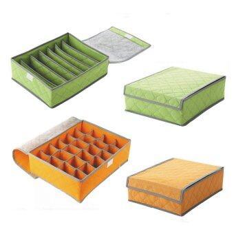 achute ชุดเซ็ต กล่องจัดระเบียบชุดชั้นใน สำหรับใส่เสื้อใน 2 ชิ้น และ กางเกงใน 2 ชิ้น (สีเขียว/ส้ม)