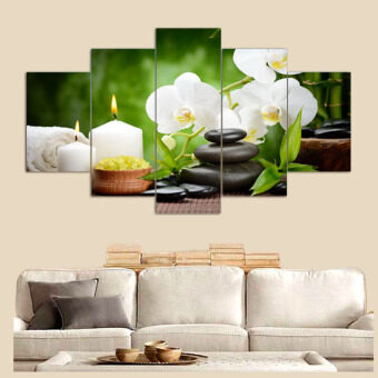 Harga 5 Panels Canvas Little stones with White Flowers Painting On Canvas Canvas Wall Art Picture Home Decor FIV041 - Intl