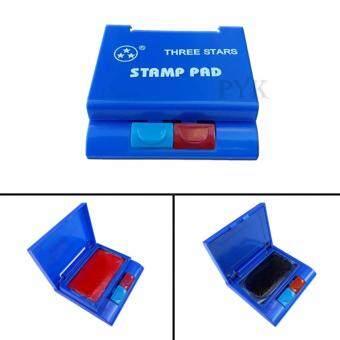 แท่นหมึกแสตมป์ แท่นประทับตรา STAMP PAD 2 ชั้น 2 สี แดง + น้ำเงิน (1 ชิ้น)