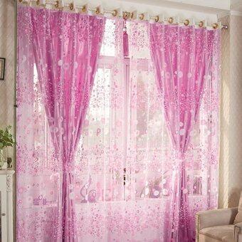 ผ้าป่านลายดอกไม้บานหน้าต่างประตูม่านผ้าม่านโปร่ง ValancePink ผ้าพันคอ