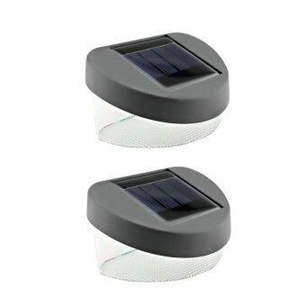 ไฟโคมไฟพลังแสงอาทิตย์โคมไฟติดผนังโคมไฟรั้วสวนรั้วแสงโคมไฟติดผนังตกแต่งโคมไฟพลังงานแสงอาทิตย์ 2LED 2PCS