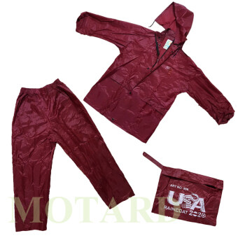 ชุดกันฝน มีแถบสะท้อนแสง เสื้อ+กางเกง+กระเป๋า ขนาดฟรีไซส์ (สีแดง)