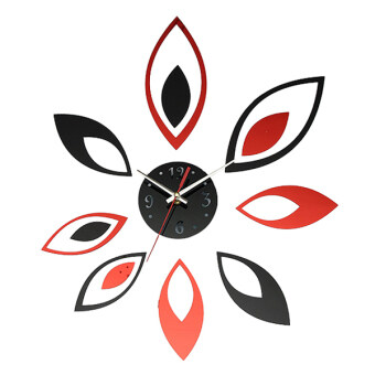 Harga Modern Flower Mirror Wall Clock Sticker Home Office Time DIY Fashion Decoration Black Red