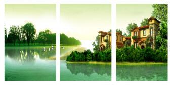 Tree Life รูปภาพสติ๊กเกอร์อเนกประสงค์ DIY ขนาด 40x60cm รุ่น ไม่มีกรอบ ภาพแม่น้ำเขียวมรกต_025 1 ชุด 3 ภาพ