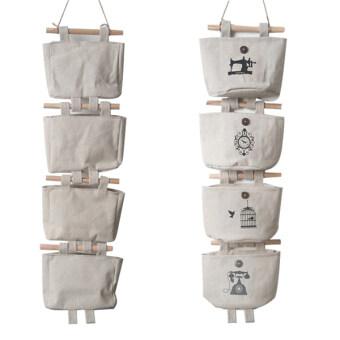 achute ชุดถุงผ้าใส่ของ สำหรับติดผนัง ไอเดียเก๋ๆ ใช้เก็บสิ่งของ ให้เป็นระเบียบ ด้านในกันน้ำ1ชุดมี 4 ใบเล็ก