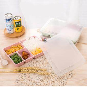 CHANEE กล่องใส่อาหาร กล่องข้าว 4 ช่อง พร้อมช้อน เข้าไมโครเวฟได้ - Pink