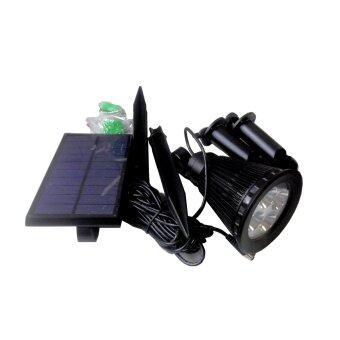 โคมไฟปักพื้นพลังงานแสงอาทิตย์ รุ่น solar cell spotlight สายไฟ5เมตร (cool white color)