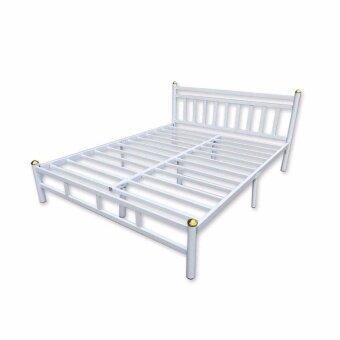 ISO เตียงเหล็กอย่างหนา 5ฟุต รุ่นหัวเหลี่ยม สีขาว