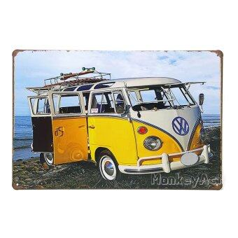 MonkeyAct ป้ายสังกะสีวินเทจ Yellow Volkswagen Bus with Board on the Beach