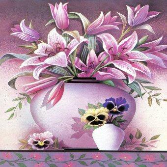 Tree Life ภาพพิมพ์กรอบลอย รุ่นภาพมีกรอบวาดสีอะคริลิค ดอกลิลลี่_ab030 Size 40 x 40 cm