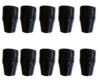 Papamami Pots Round Black Plastic กระถางพลาสติกกลม 6 นิ้ว 100ใบ (สีดำ)