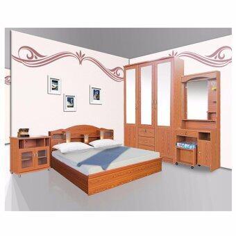 RF Furniture ชุดห้องนอนA4 5 ฟุต เตียง 5 ฟุต + ตู้เสื้อผ้า 3 บาน + โต๊ะแป้ง 70 cm + ตู้วางทีวี + ที่นอนสปริง ( สัก )