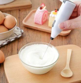 KitchenMarks ที่ตีฟองนม เครื่องตีฟองนม ที่ทำฟองนม ที่ตีไข่ (สีขาว)