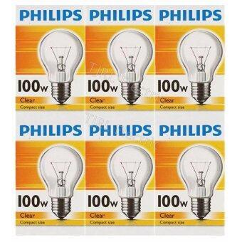 Philips แพ็คหลอดไส้ ทรงปิงปอง 100W E27 ใส x 6 หลอด