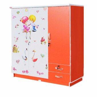 RF Furniture ตู้เสื้อผ้าเด็ก 120 cm 3ประตูทึบ รุ่น Wk003p-or/w2 ( สีส้มสติกเกอร์ )